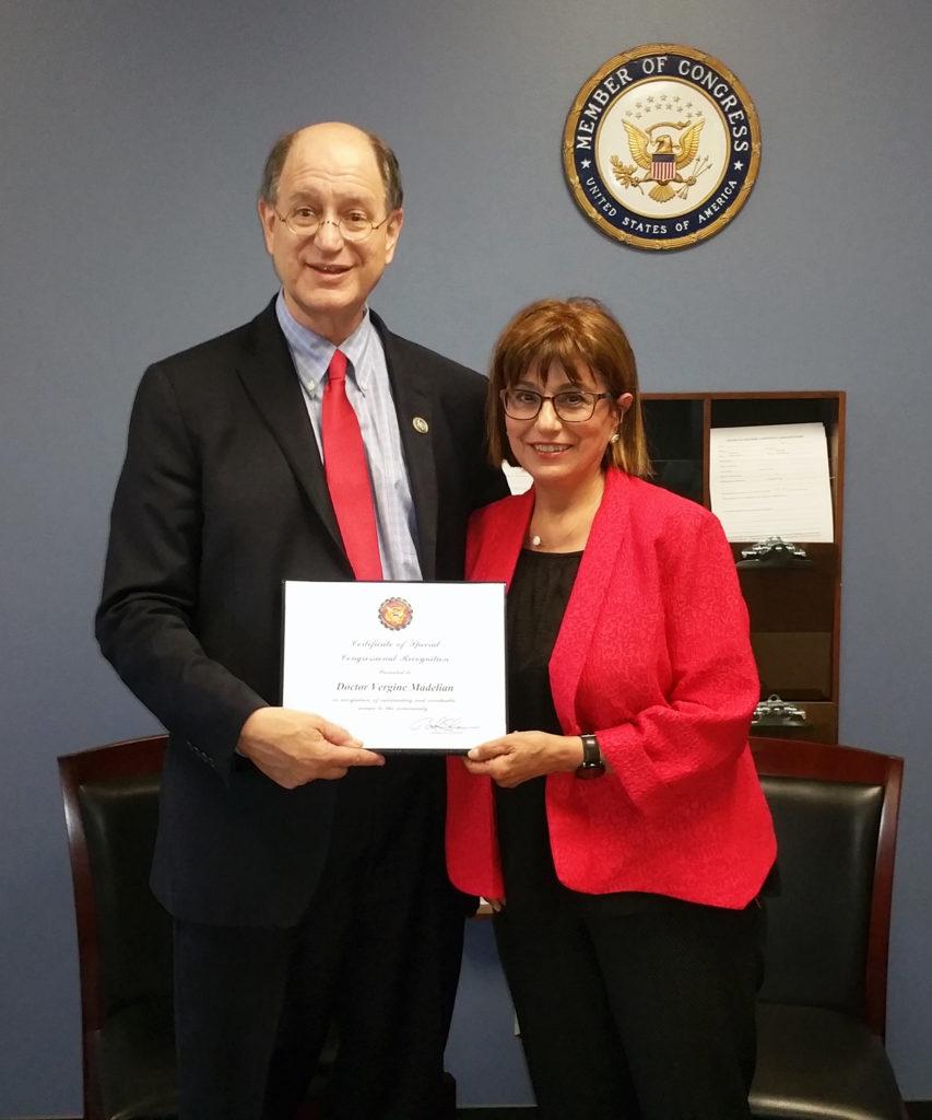 Brad Sherman Presenting Award to Dr. Vergine Madelian