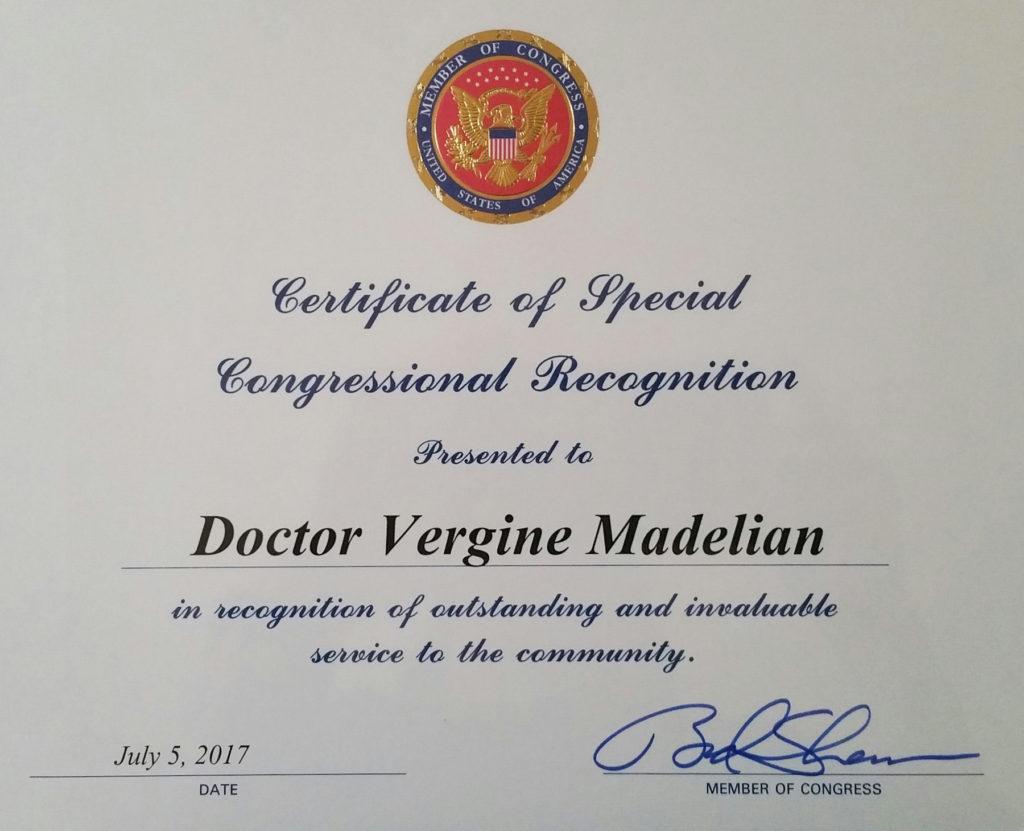 Dr. Vergine Madelian Certificate